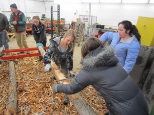 Peeling logs!